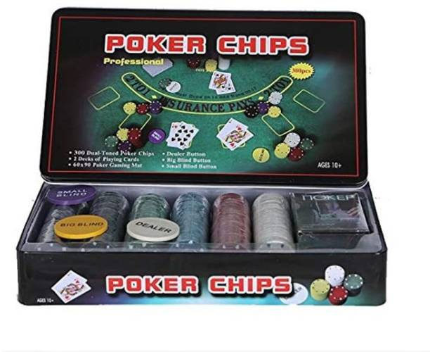 IZED Professional 300 Chips Poker Set (TIN CASE Safe Pack) (Multicolor)