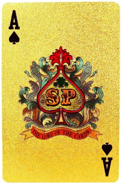 """Poker Card Guard /""""I´M ON FIRE/"""" 24K GOLD PLATED"""