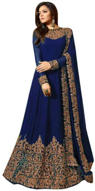 94aacd3df9 Navya Faux Georgette Embroidered Semi-stitched Salwar Suit Dupatta Material