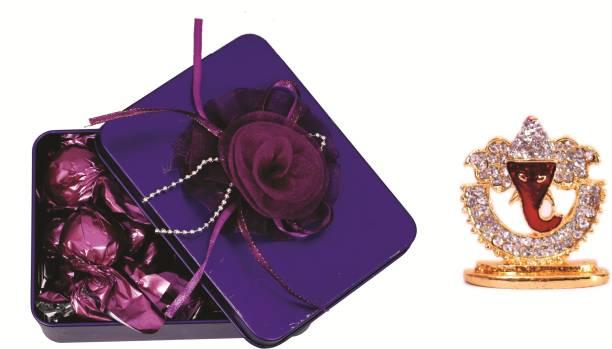 Skylofts Stylish Rectangular Tin Box with 10pcs Assorted Chocolates & Ganesha Diwali Hamper Combo