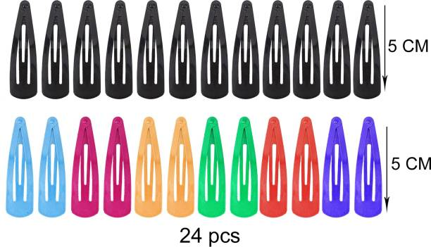 Honbon Set of 24 Pcs of 5 cm (6 Pairs of Black and 6 Pairs of Random plain color) Premium Metal Triangular Tik Tak Hair Pins or Clips Hair Accessories for Girls and Women And Baby Girls Tic Tac Clip