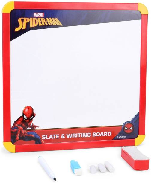 MARVEL Spider-Man 2-in-1 Slate & Writing Board with markers and chalk