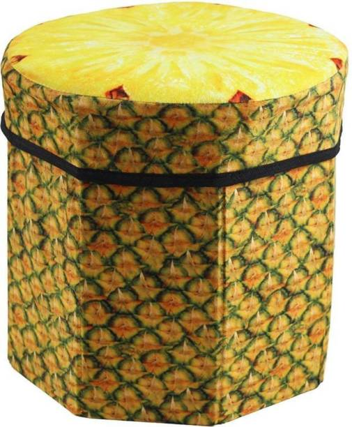 Kids Mandi Creative 3D Pineapple Design Multipurpose Foldable Velvet Storage Seat Box Living & Bedroom Stool