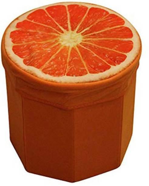 Kids Mandi Creative 3D Orange Design Multipurpose Foldable Velvet Storage Seat Box Living & Bedroom Stool