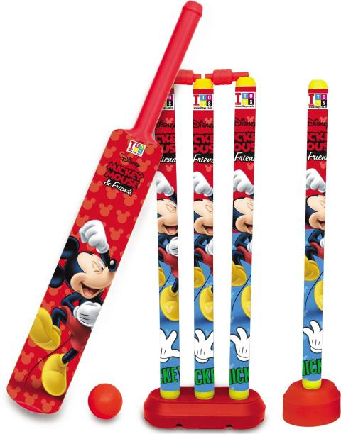 DISNEY Mickey & Friends Senior Bat, 4 Stumps and Ball Cricket Kit