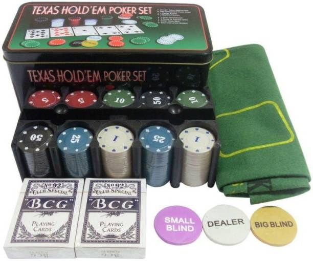 IZED Texas Hold'Em Poker Set (Tin Case) – 200 Chipss Duplex Centered Board (Multicolor)