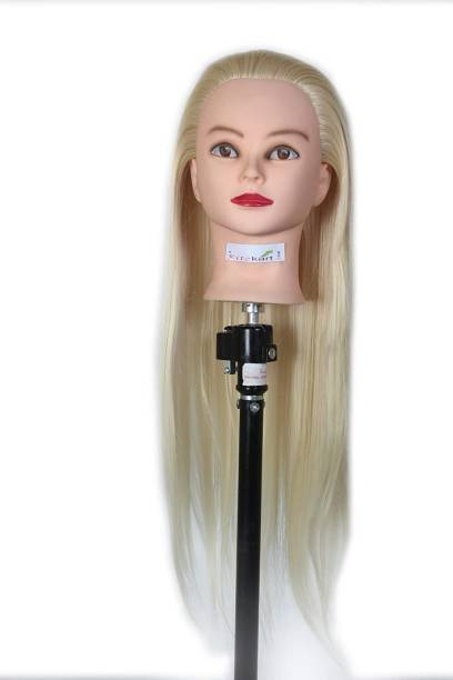Ritzkart Imported Synthetic  practice Dummy Feel Natural human soft  Off White hair long dummy for Practice/Cutting/styling/Makeup mannequin For Trainers Hair Extension