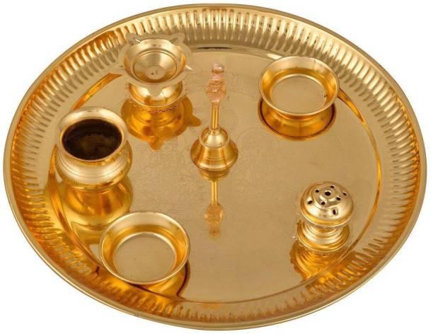 INTERNATIONAL GIFT Laxmi Ganesh Silver Pooja Thali Set 25 cm, Occasional Gift, Pooja Thali Decorative, Wedding Gift and Diwali Gift Items Silver Plated