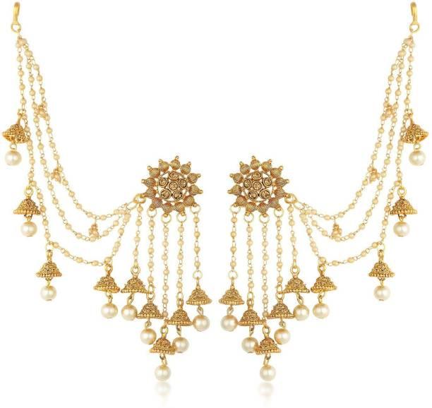 947f61376 Sukkhi Sukkhi Bahubali Flower Designer Gold Plated Long Chain Jhumki  Earrings For Women Pearl Alloy Jhumki