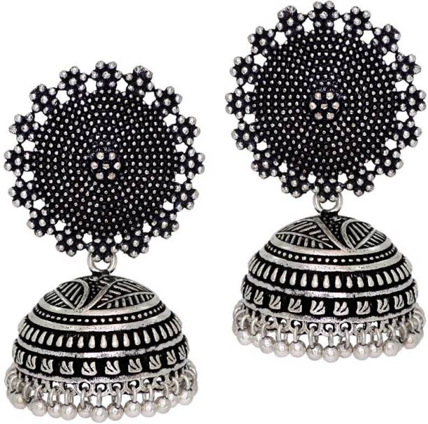 Jaipur Mart Oxidised Silver Plated Handmade Women Jhumka Jhumki Earrings Alloy Earring