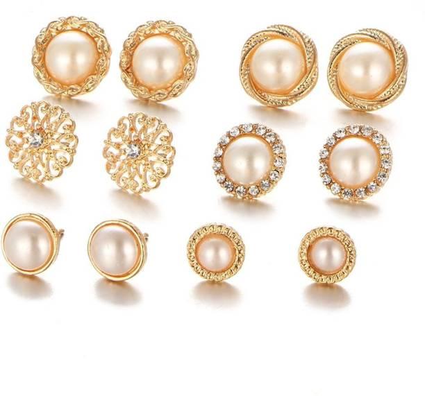 310546ccc9f Shining Diva Combo of 6 Stylish Fancy Party Wear Pearl Stud Earrings Pearl  Brass Stud Earring