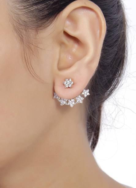 Shining Diva Latest Bollywood Designer Cubic Zirconia Metal Cuff Earring
