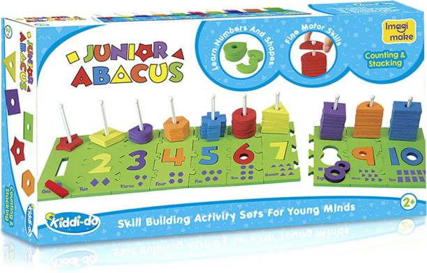 Imagimake Junior Abacus Skill Building Activity Set (2 Years +) To Help Learn Shapes, Numbers, Counting, Speech And Language, 8 mm & 10 mm Foam (Multicolor)