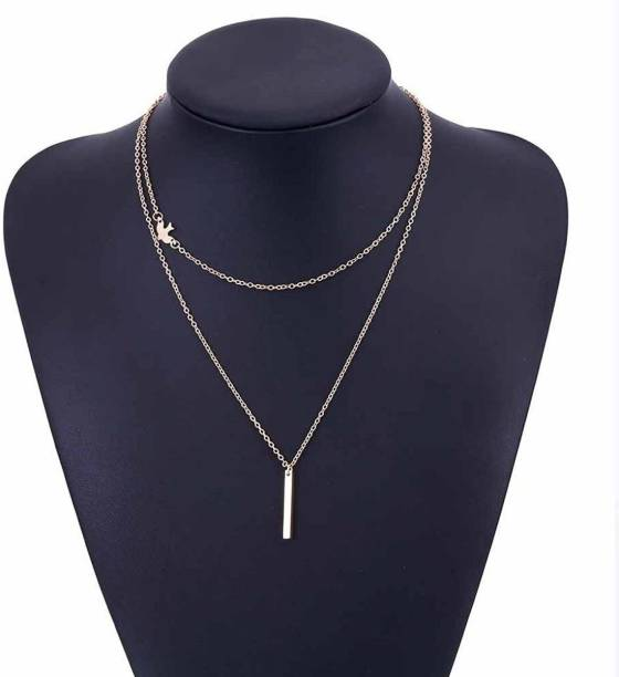 6d35117ef9e MYKI Gorgeous Bird Multi-layered Gold Plated Fashion Necklace Chains For  Women & Girls Gold