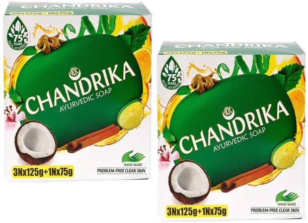CHANDRIKA Ayurvedic Handmade Soap 125g x 6 + 75 x 2