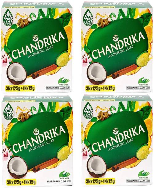 CHANDRIKA Ayurvedic Handmade Soap 125g x 12 + 75 x 4