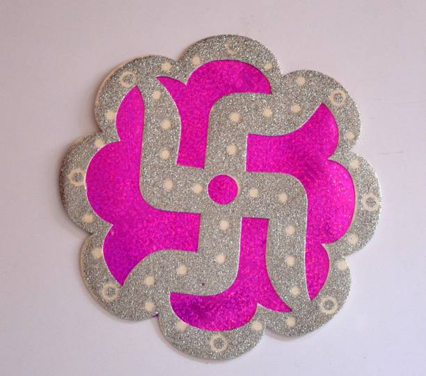 ONRR Large Swastik Wall / Floor Sticker /Sticker Swastik mix colours pink/red/yellow ; pack of 4 stickers