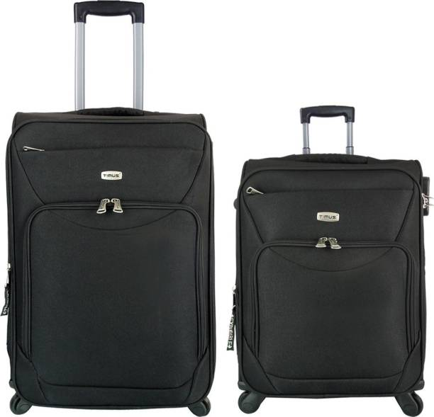 58e82712f Timus Upbeat Spinner Black 55 & 65 cm 4 Wheel Strolley Suitcase For Travel  SET OF