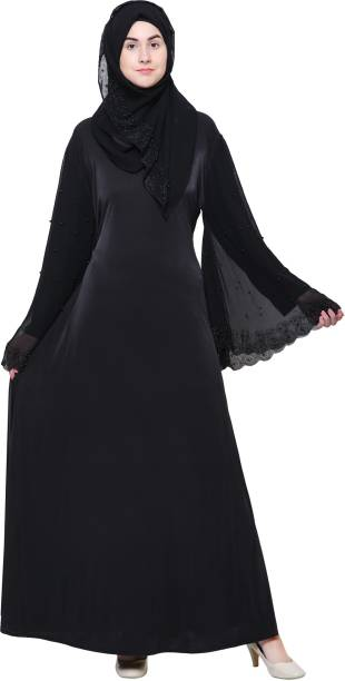 a26173e5acd7 ZUZUU Beautiful Women's Stone Work Abaya for stylish Girl's With Adjustable  Belt Imported Crystal Lycra Self