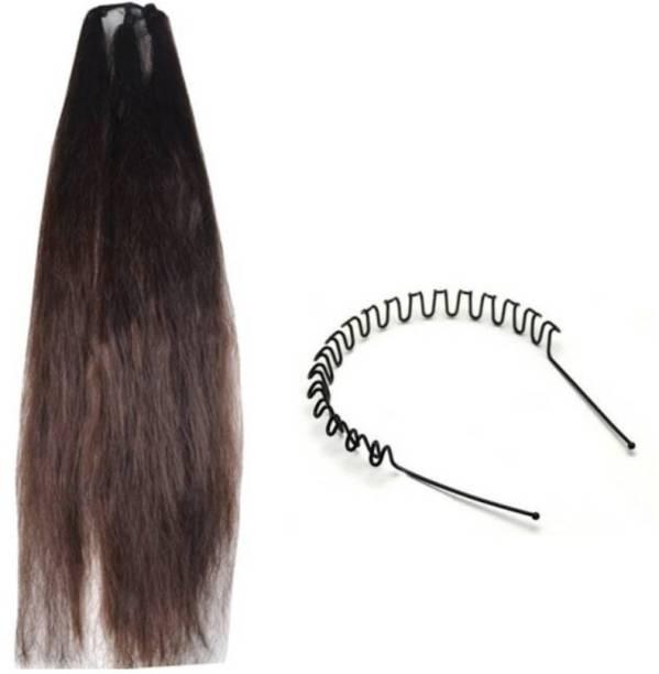 KashQueen Brown 24Inchs Hair Choti with Zig Zag Hair Band Braid Extension