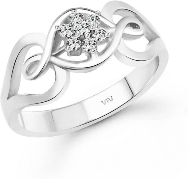 4c3227c09 Vighnaharta Seven Diamond Twist Alloy, Brass Crystal, Cubic Zirconia  Rhodium, Silver Plated Ring