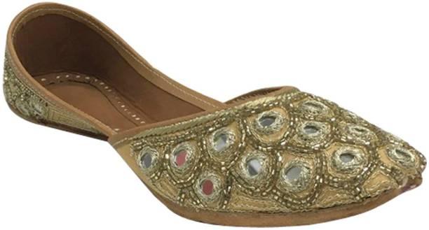 b107575d8 Stop N Style Ladies Gold Crystal Work Punjabi Jutti Handmade Jutis For Women
