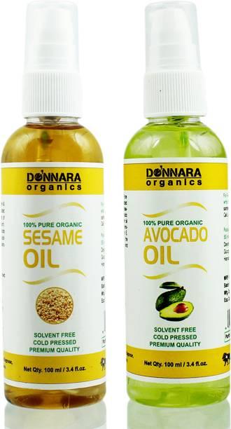 Donnara Organics 100% Pure Sesame oil and Avocado oil Combo of 2 Bottles of 100 ml(200 ml) Hair Oil