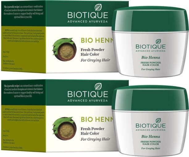 BIOTIQUE Bio Fresh Heena Powder Hair Color Pack of 2pc (Greying Hair )
