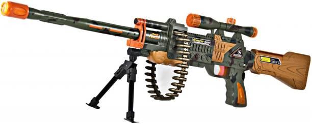 FTAFAT Army Gun Toy with Bullet belt rotatory, Music, sound & Laser light range 740 mtr. Army Gun Toy Kids, Music, Laser & 360d Belt Rotation Guns & Darts