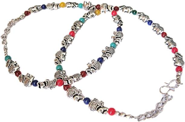c58db428479 Muccasacra Elephant Multicolour Design Pair Sterling Silver Anklet