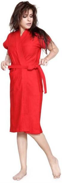 Pugnaa Valentine Red Free Size Bath Robe