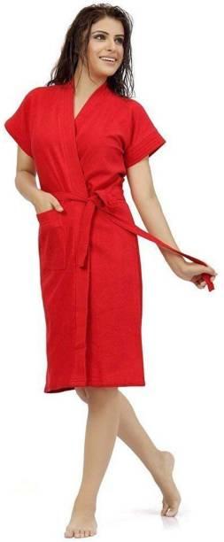 Pugnaa Love Red Free Size Bath Robe