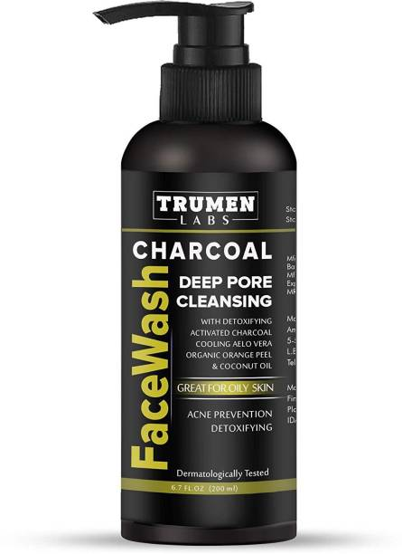 TruMen Charcoal Face Wash for Men for Instant Glow, Both Oily and Dry Skin, DTaning 100% Natural & Organic (200ml)