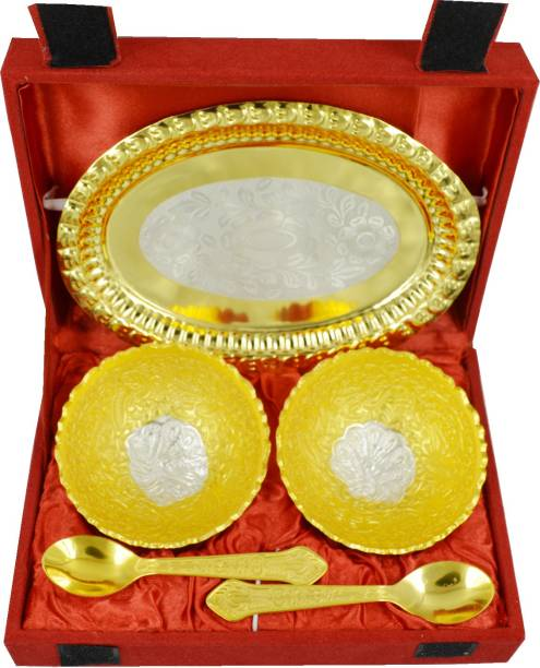 ME&YOU Specail Diwali Gifts Gold Plated Set of 2 Brass Bowls (Capacity-150 ml), 2 Spoons and 1 Tray, Serving Set IZ18GoldBowl-004 Bowl Spoon Tray Serving Set