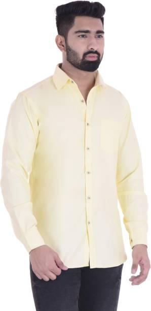 9eb632ea8 ABD FASHION Men's Solid Casual Yellow Shirt