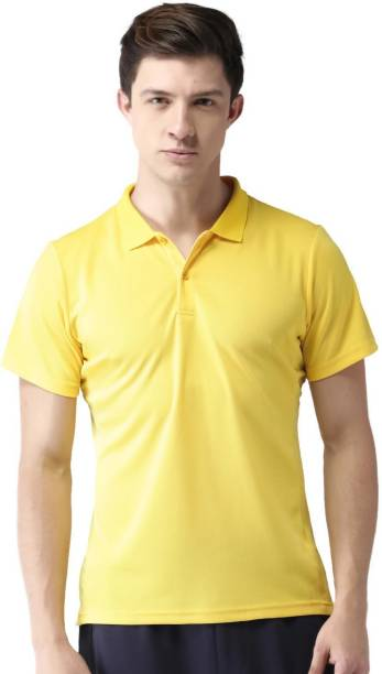 MAST & HARBOUR Solid Men Polo Neck Yellow T-Shirt