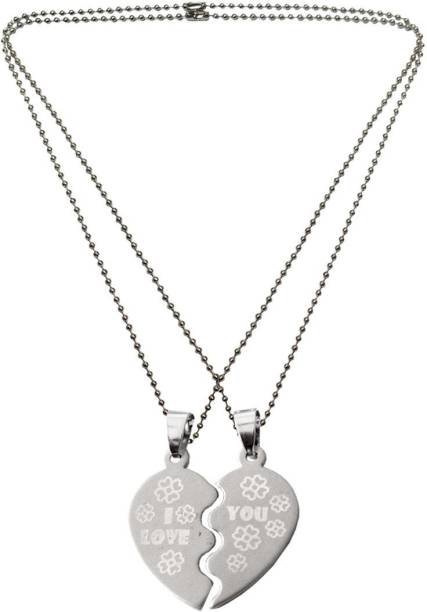 4f6b1fd99207e Menjewell Heart Jewellery Collection I love U Flower Design Dual Heart  Alloy Pendant