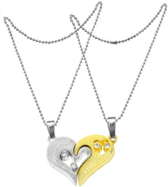 Men Style 2pcs His and Hers Heart-shape I Love You Couple Locket Rhodium  Zinc 59b83e7be2b4