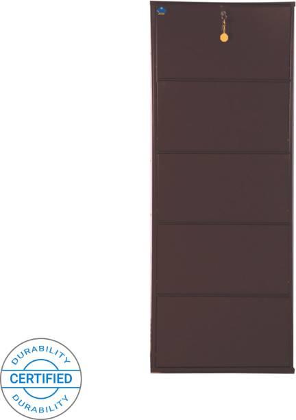 Delite Kom 24 Inches wide Five Door Powder Coated Wall Mounted Metallic Coffee Metal, Metal, Metal Shoe Rack