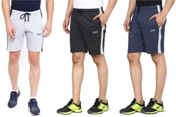 LANCE Self Design Men Blue, Black, Grey Gym Shorts, Night Shorts, Basic Shorts, Regular Shorts, Running Shorts, Boxer Shorts, Sports Shorts, Bermuda Shorts