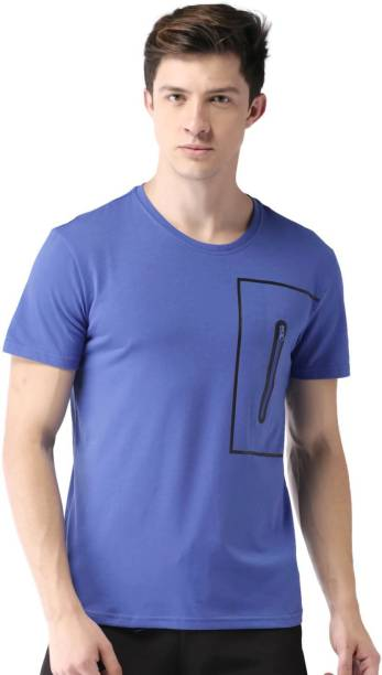 MAST & HARBOUR Solid Men Round or Crew Blue T-Shirt