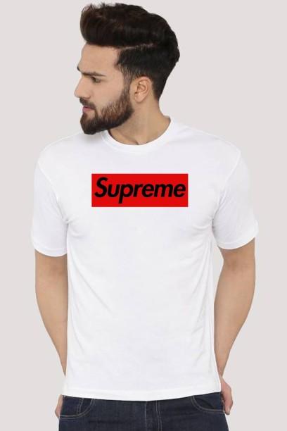 Supreme Graphic Print Men Round Neck White T,Shirt