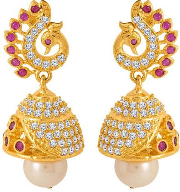790c4c3e8 Voylla Classic Gold Plated Jhumki Earrings Crystal Brass Jhumki Earring
