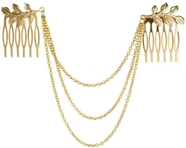 Habors Gold Metal Leaf Tassels Hair Chain