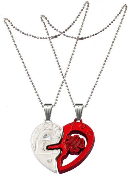 Men Style 2 pcs His and Hers I Love You Broken Heart Lock And Key CoupleFor Lovers Jewelry SPn007007 Zinc Pendant