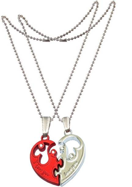 Men Style Romantic CoupleLovers I Love YOU Forever Crystal Heart-Shaped Jewelry SPn0070036 Zinc Pendant Set