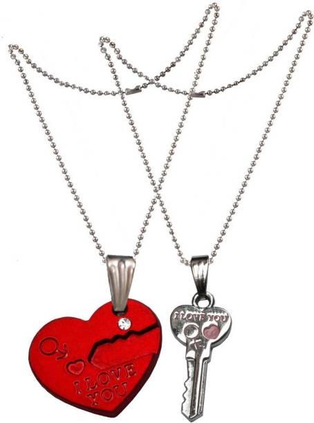 Men Style 1 Pair Romantic Couple I Love You Lock Key Broken Heart Lover Gift SPn007003 Zinc Pendant