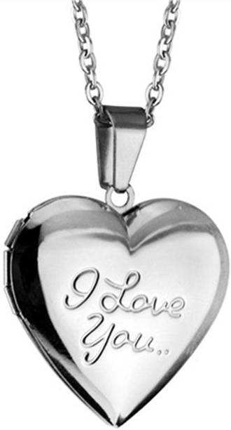 018ff8063 Via Mazzini White Gold Plated I Love You Heart Photo Locket Unisex (NK0459)  Silver
