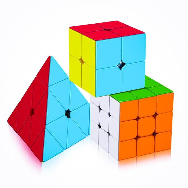 D ETERNAL cube 2x2 3x3 and Pyraminx Triangle cube stickerless high speed magic Cube combo Brainstorming Puzzle Game Toy