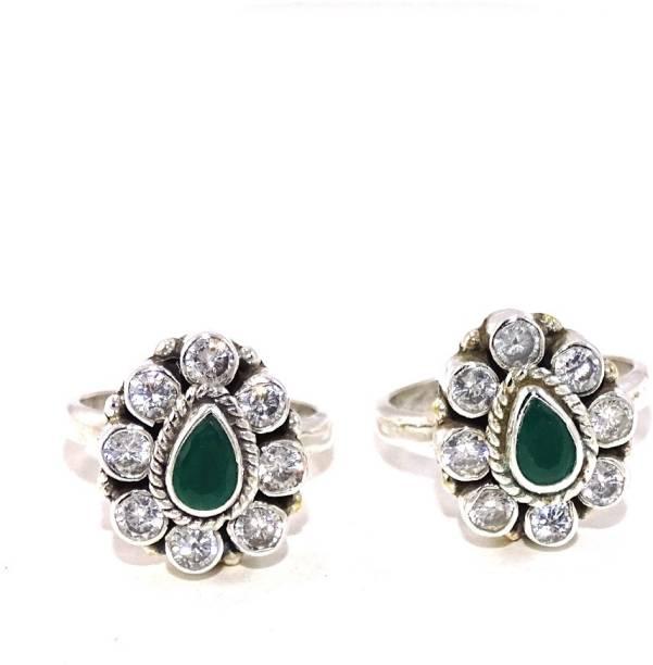 c8ce58c6af sahiba gems Stylish & Cool Toe Rings 2 Pcs Sterling Silver Cubic Zirconia,  Emerald Toe